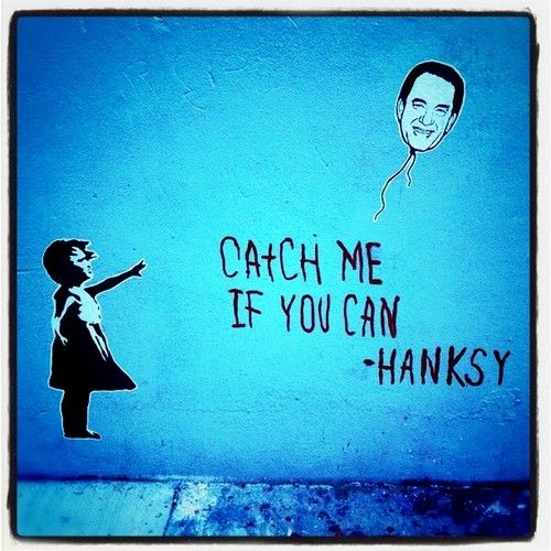 """Street Art of the Day: Hanksy strikes again (previously), hitting the streets of SoHo with a Tom Hanks-themed take on Banksy's """"Girl with Red Balloon.""""  [wooster.]"""