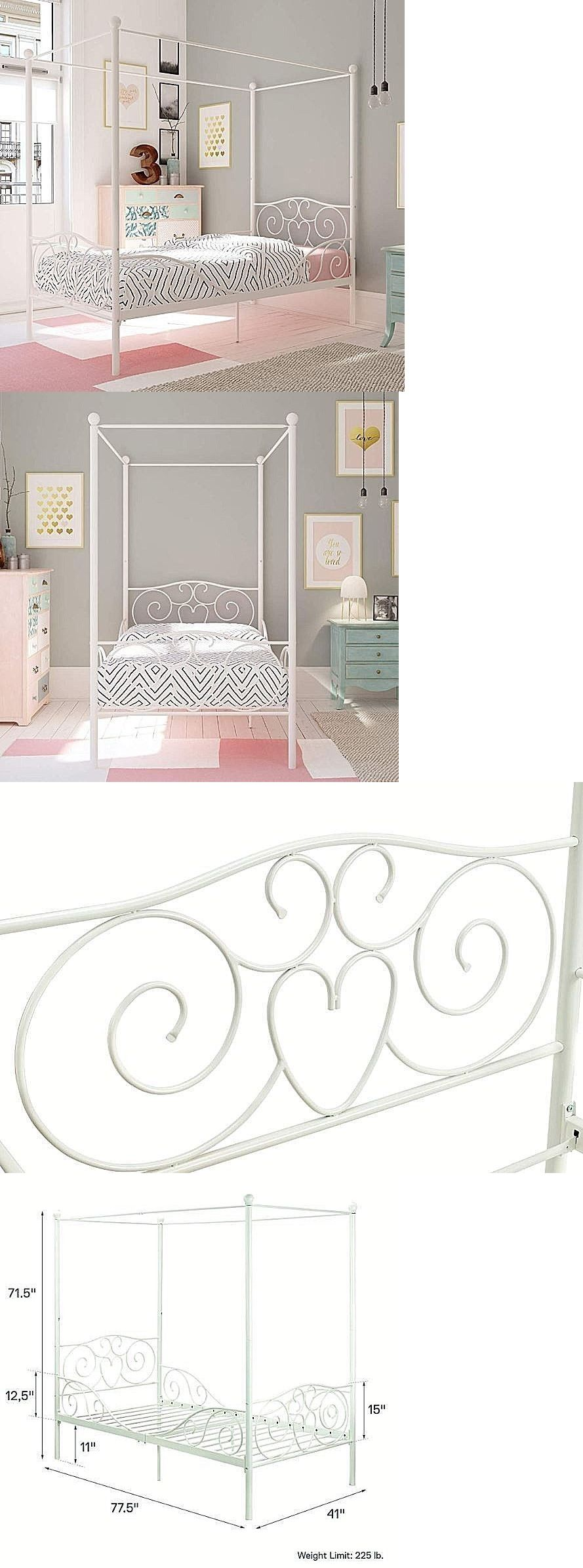 Bedroom Furniture 66742 Girls White Canopy Bed Twin Size