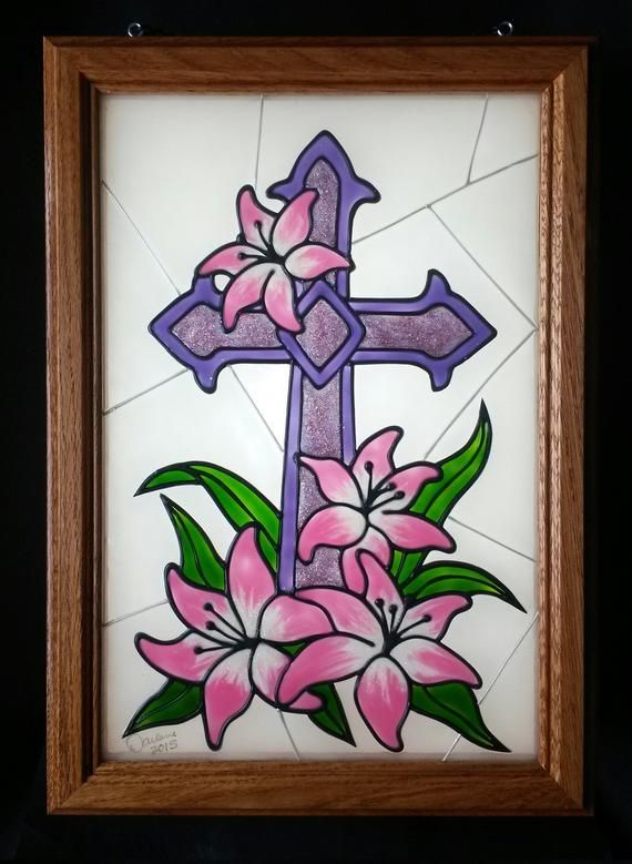 Faux stained glass cross decoration religious  church art easter personalized gi also rh pinterest