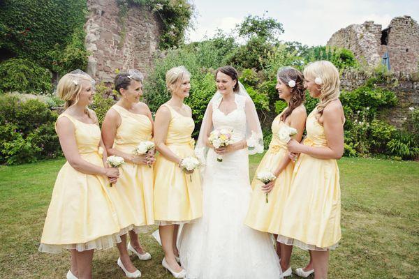Bridesmaid Fashion Yellow Wedding Bridesmaids1950s Dressyellow
