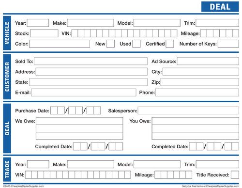 Free Downloadable Car Deal Cover Sheet Just add it to a blank - auto expense report