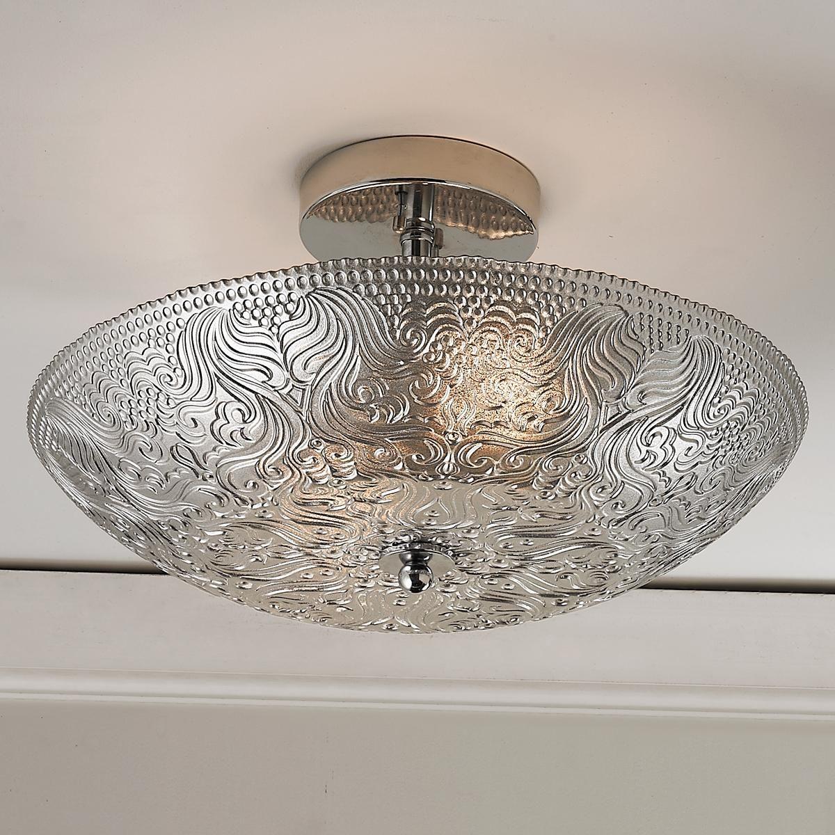 Silver Damask Glass Ceiling Light Master bedroom?  Glass ceiling