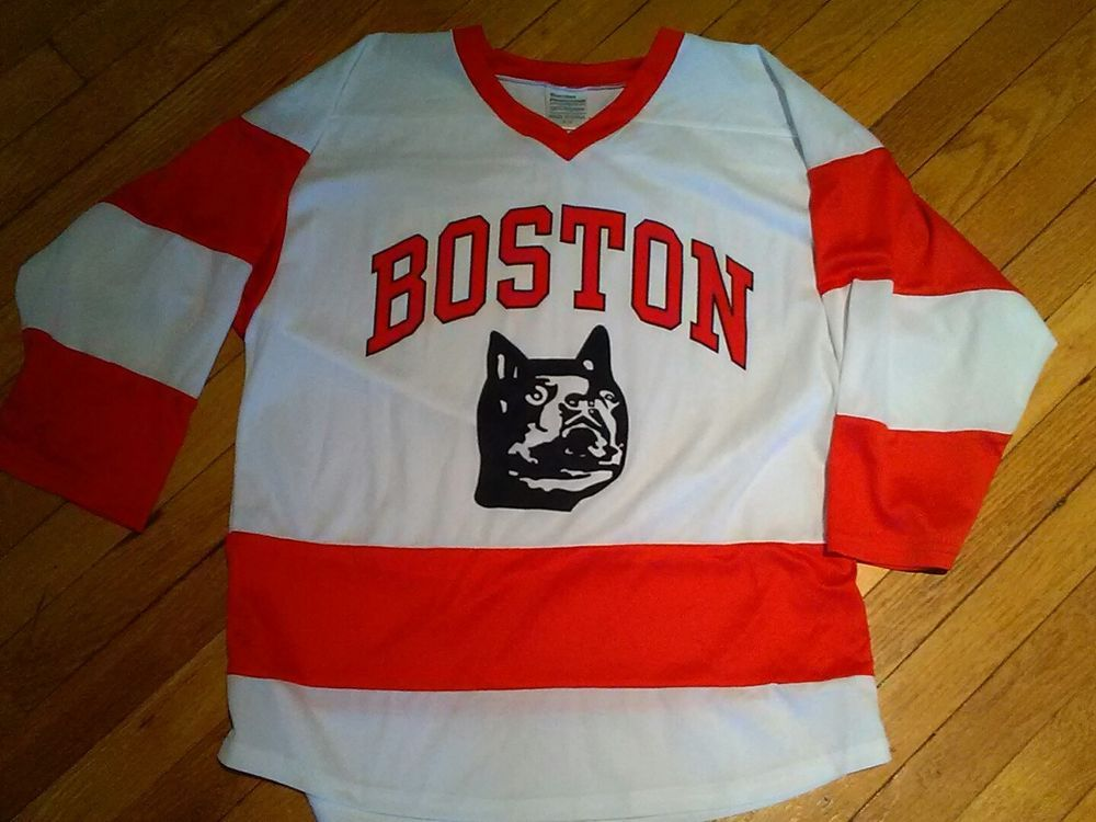 boston university bu terriers vtg logo hockey promo jersey