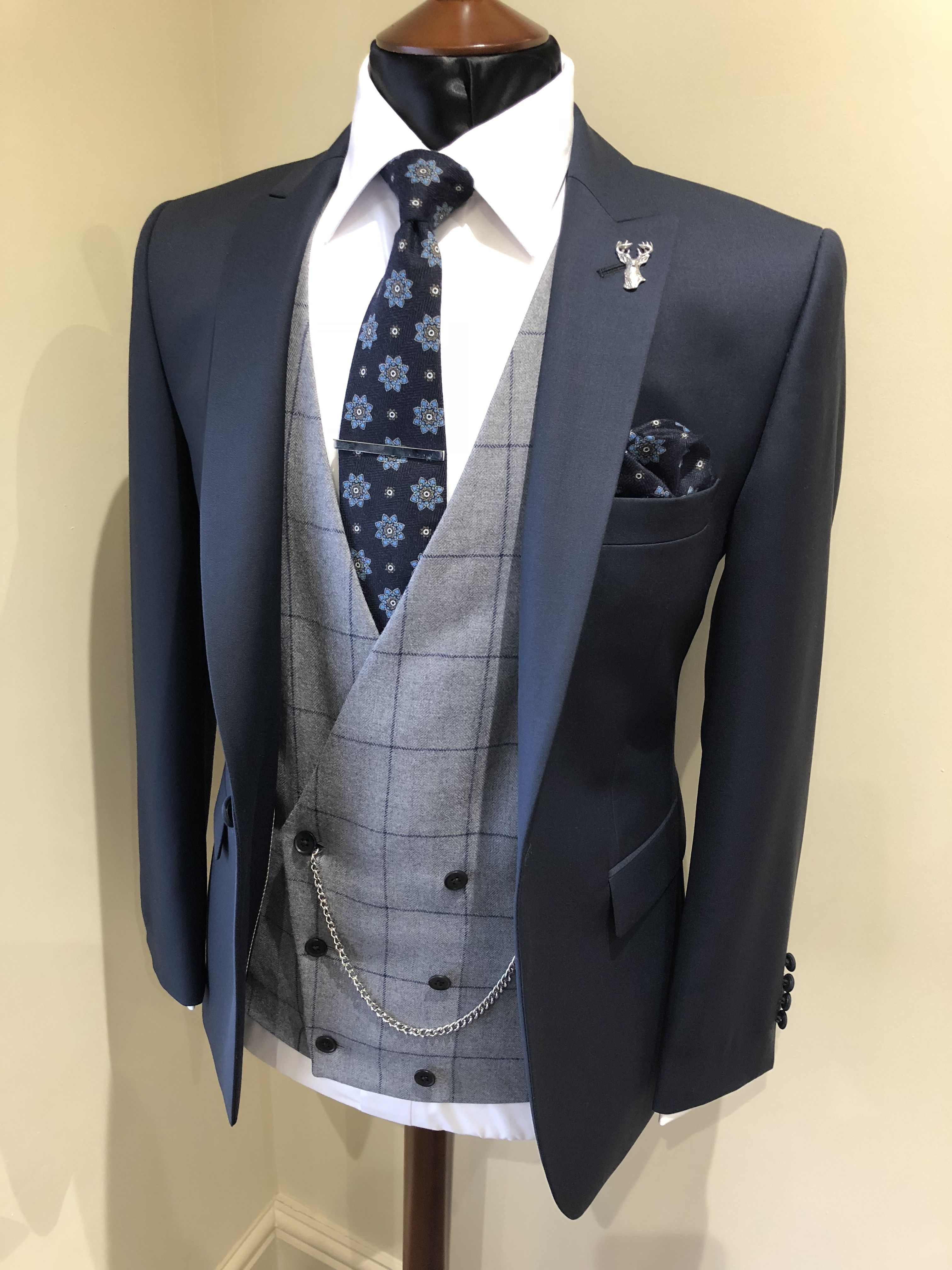 Slim Fit Navy Lounge Suit Grey Windowpane Double Breasted