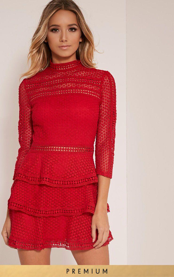 43+ Caya red lace panel tiered mini dress ideas