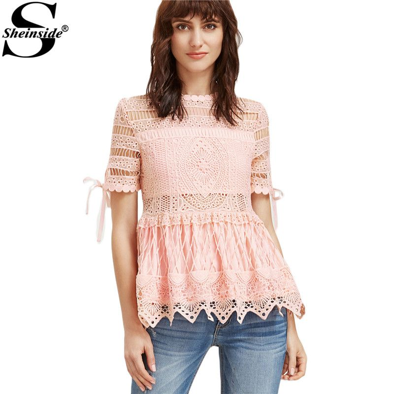 Sheinside Lace Peplum Blouse Women 2017 Pink Embroidery Hollow Out ...