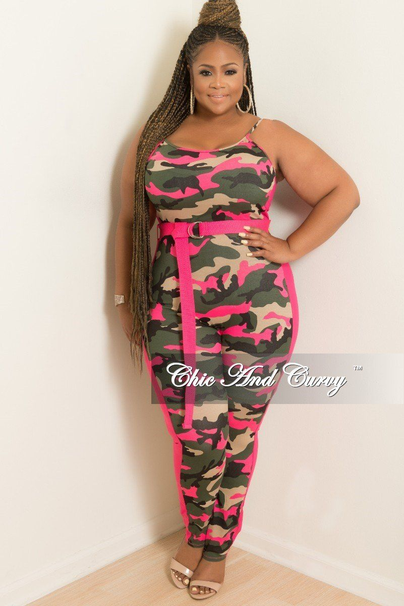 0fa30a455ed Plus Size Spaghetti Strap Jumpsuit with Attached Belt in Camouflage – Chic  And Curvy