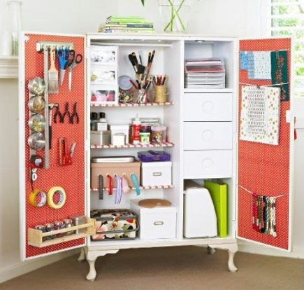 craft room armoire that contains equipments on shelves and hanging from the doors