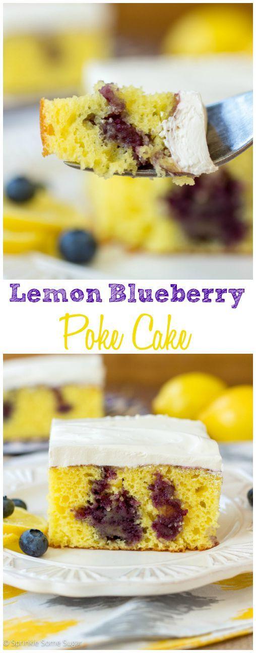 Lemon Blueberry Poke Cake. So fresh and perfect for Summer!
