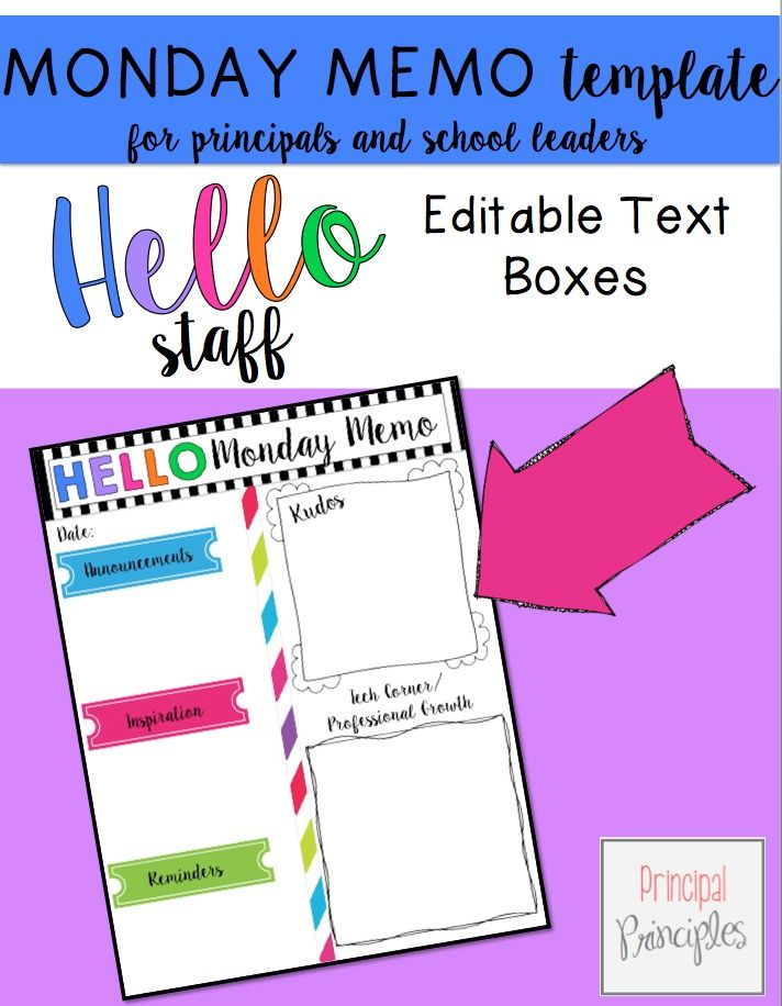 Monday Memo TemplateFreebie  Principal Mondays And Leadership