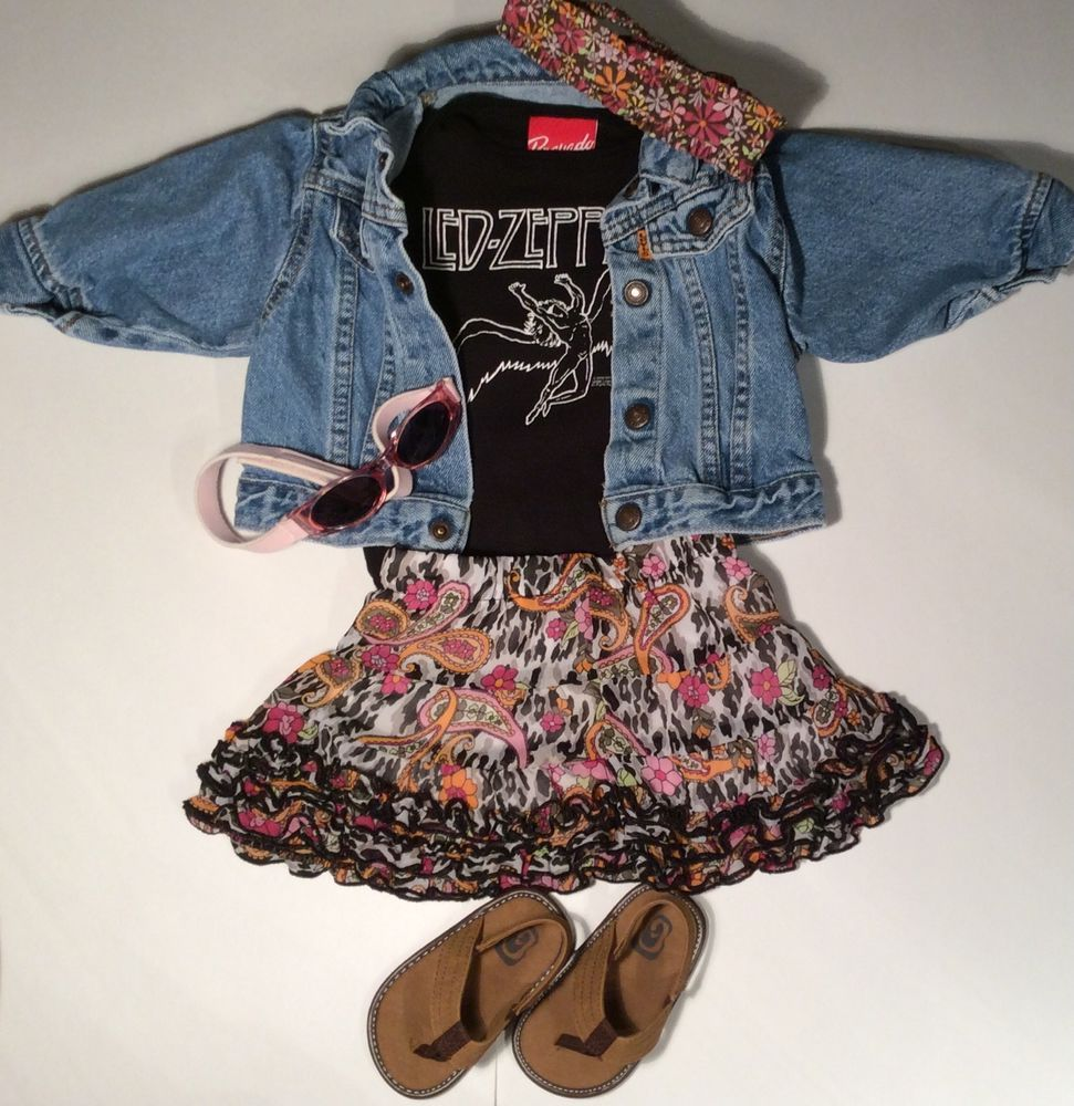 Led Zeppelin Baby Girls 6 12 M Black Tee Denim Jean Jacket Sandals Skirt Outfit Toddler Girl Style Outfits Girl Outfits [ 1000 x 971 Pixel ]