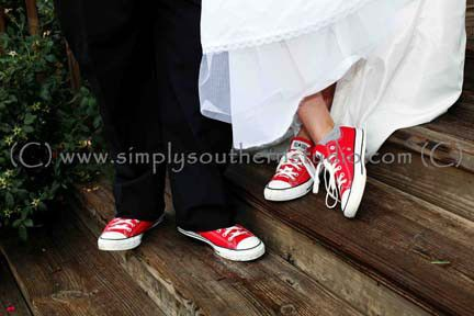 Red Converse With Wedding Dress