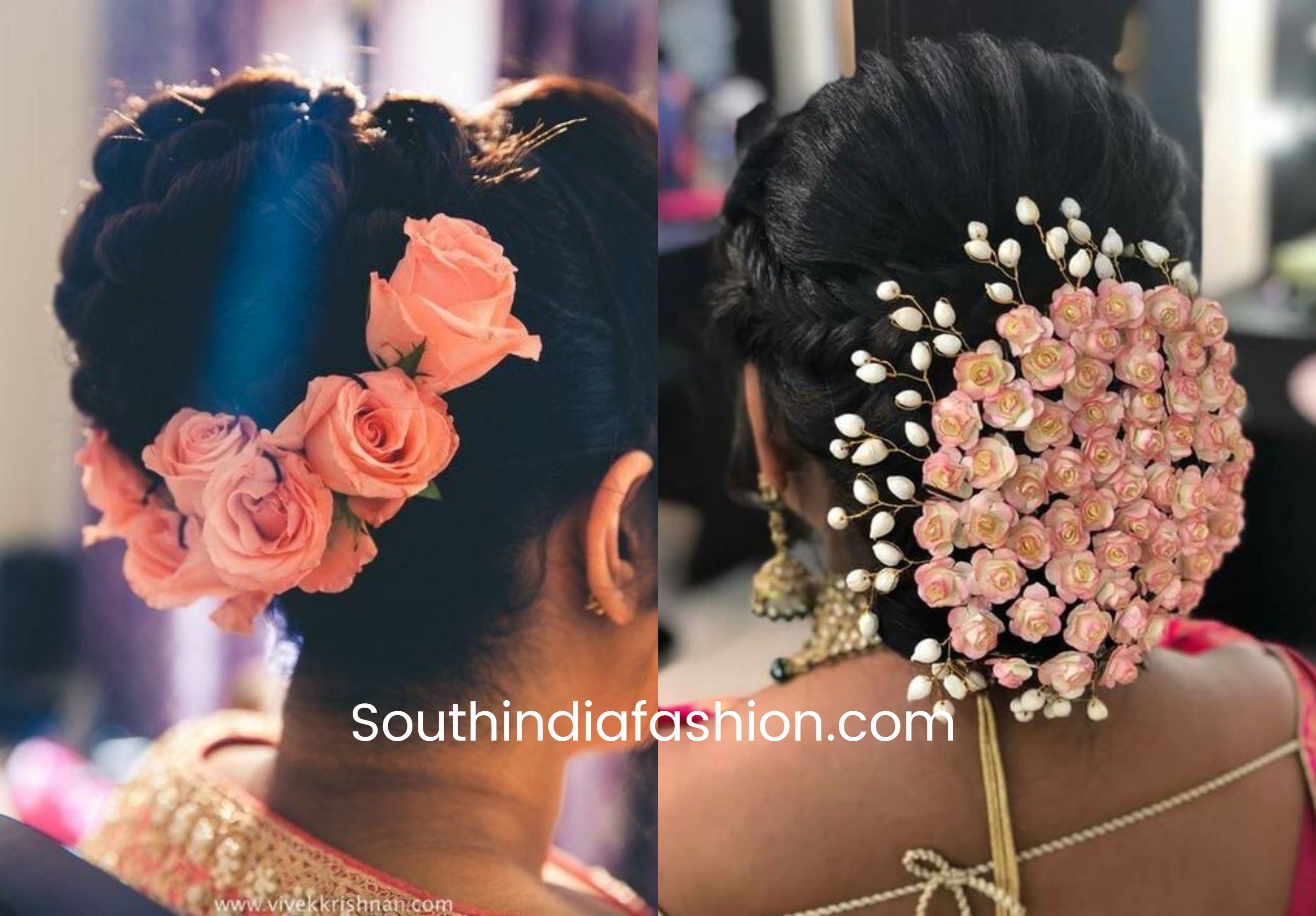 Indian Wedding Bun Hairstyle With Flowers And Gajra Bridal Bun Bun Hairstyles Wedding Bun Hairstyles