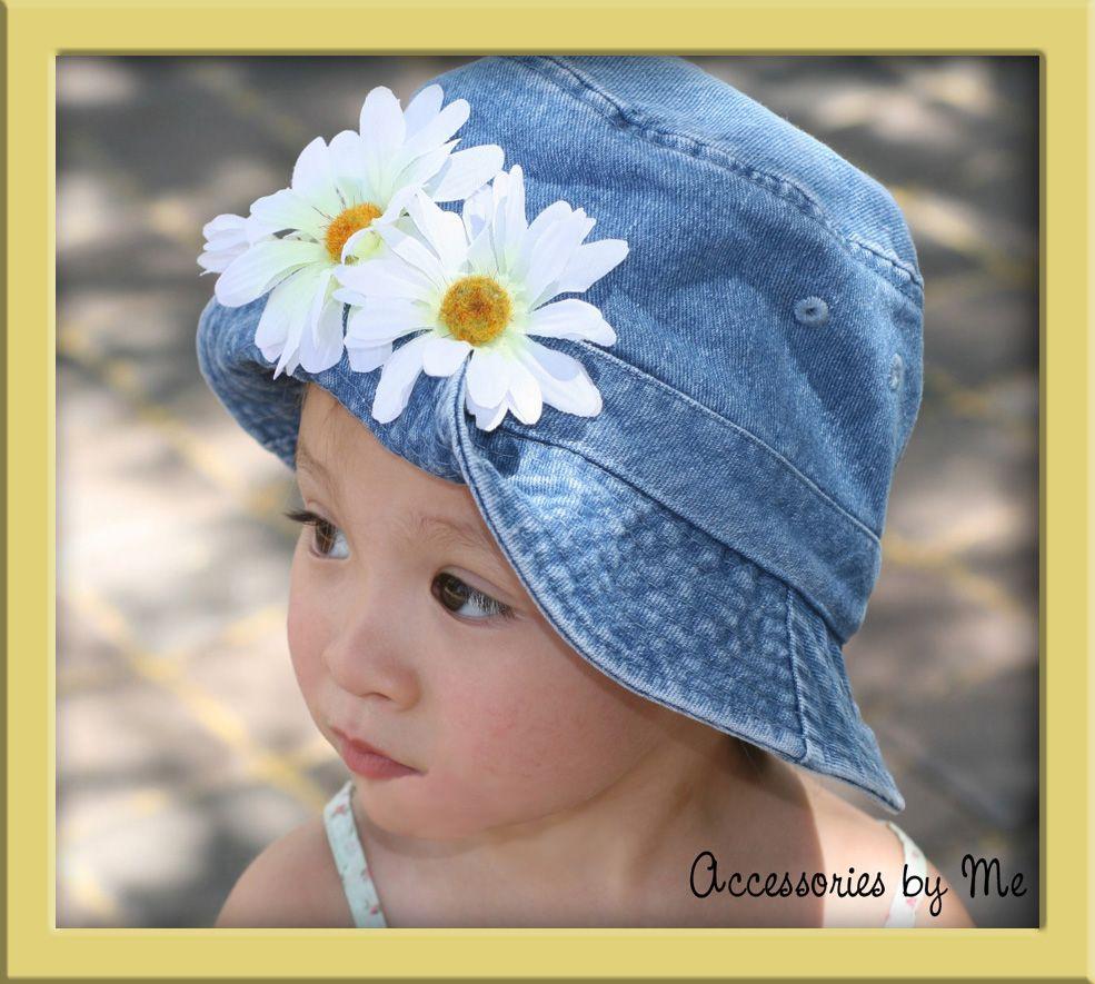 Baby Girls Sun Hat~Denim Bucket~Daisy Flowers~6m - 3 Yr   Daisy ...