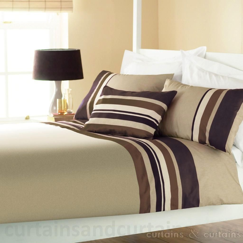 Black Brown Striped Duvet Cover Yale Chocolate Brown