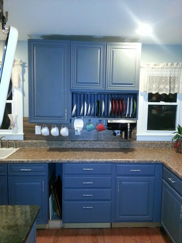 Good Option For Uneven Sized Cabinets. Plate Rack Built With Wooden Dowels.  The Cabinet Was A 12 Cabinet And I Removed The Door And Put It Sideways.  That ...