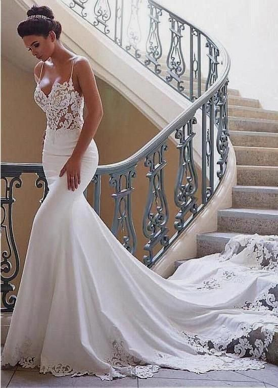 2020 Best Beautiful Lace Mermaid Wedding Dress With Sleeves