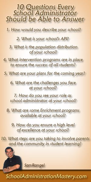 10 Questions Every School Administrator Should Be Able To Answer