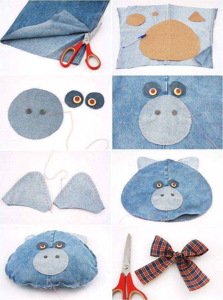 idées de décoration bricolage denim oreillers de porc ancienne salle de jeans pour enfants