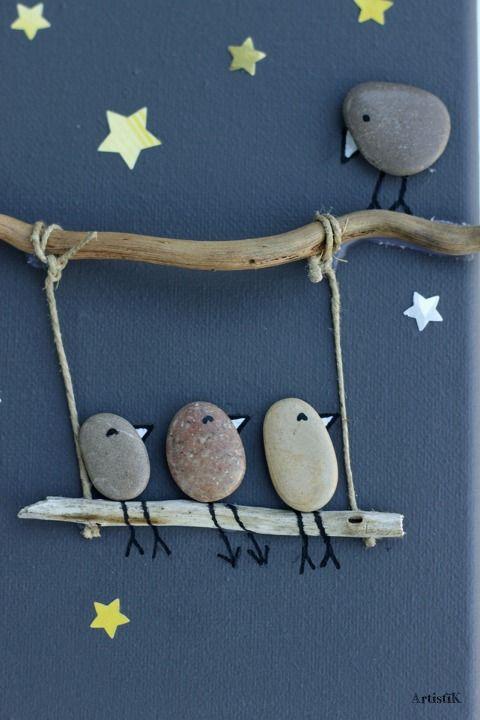 Tableau galets oiseaux bois flott fond anthracite dessin for Decoration bois flotte galet