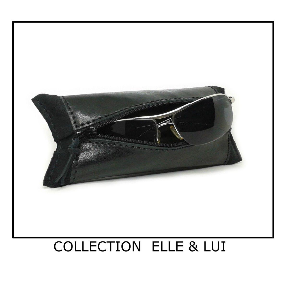 Etui à lunettes en cuir noir - Trousse en cuir noir   Couture laine ... 5060ffc273a
