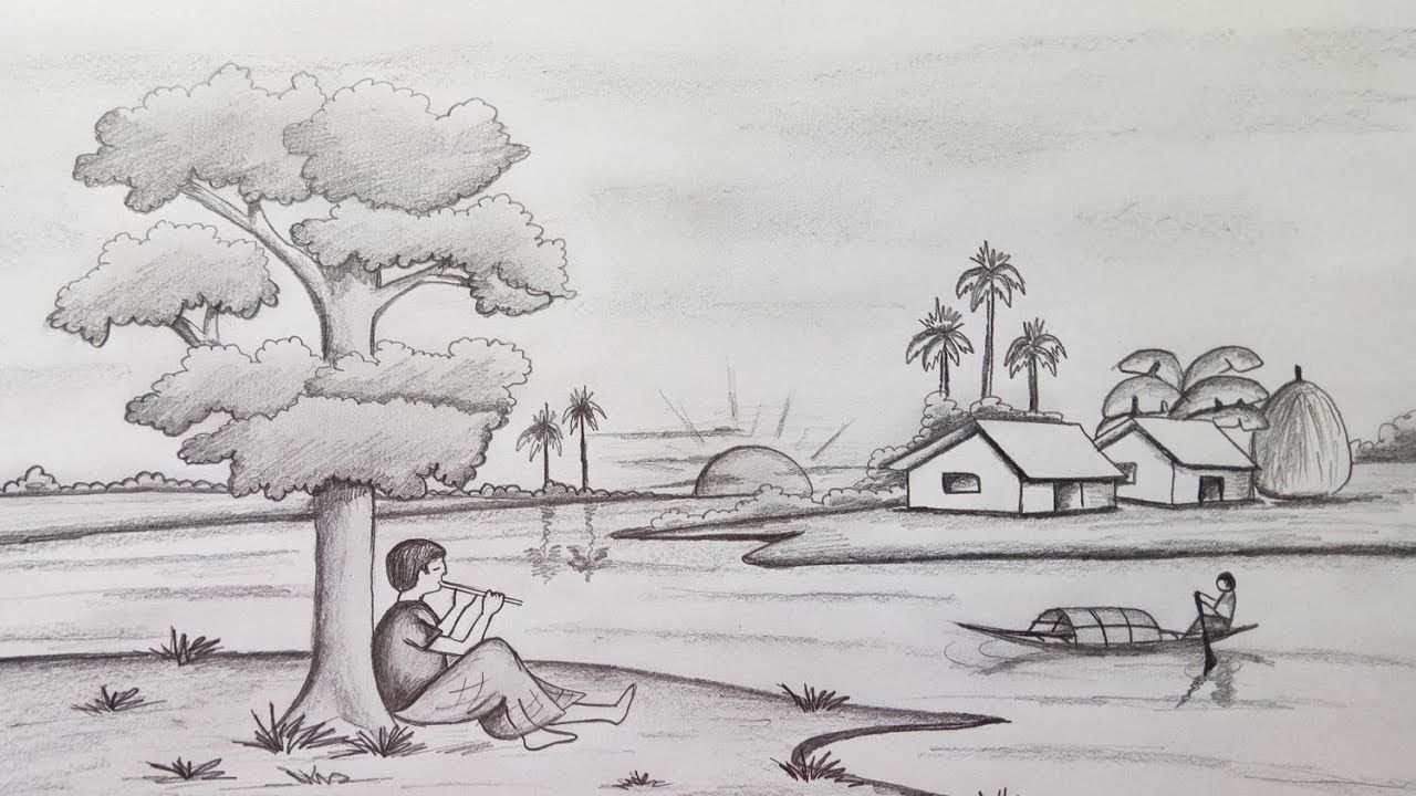 How To Draw Scenery Landscape By Pencil Sketch Step By Step Easy Draw Youtube Drawing Scenery Landscape Pencil Drawings Landscape Drawings