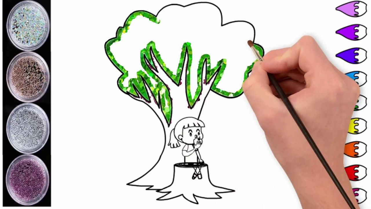 Little Girl Eating Apple Under A Tree Coloring | Baby Drawing ...