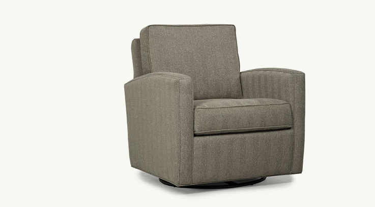 Trim lines and generous proportions combine to create a relaxed modern look while the swivel base and glider make this the chair everyone will want to settle into. Available in many fabrics and leathers