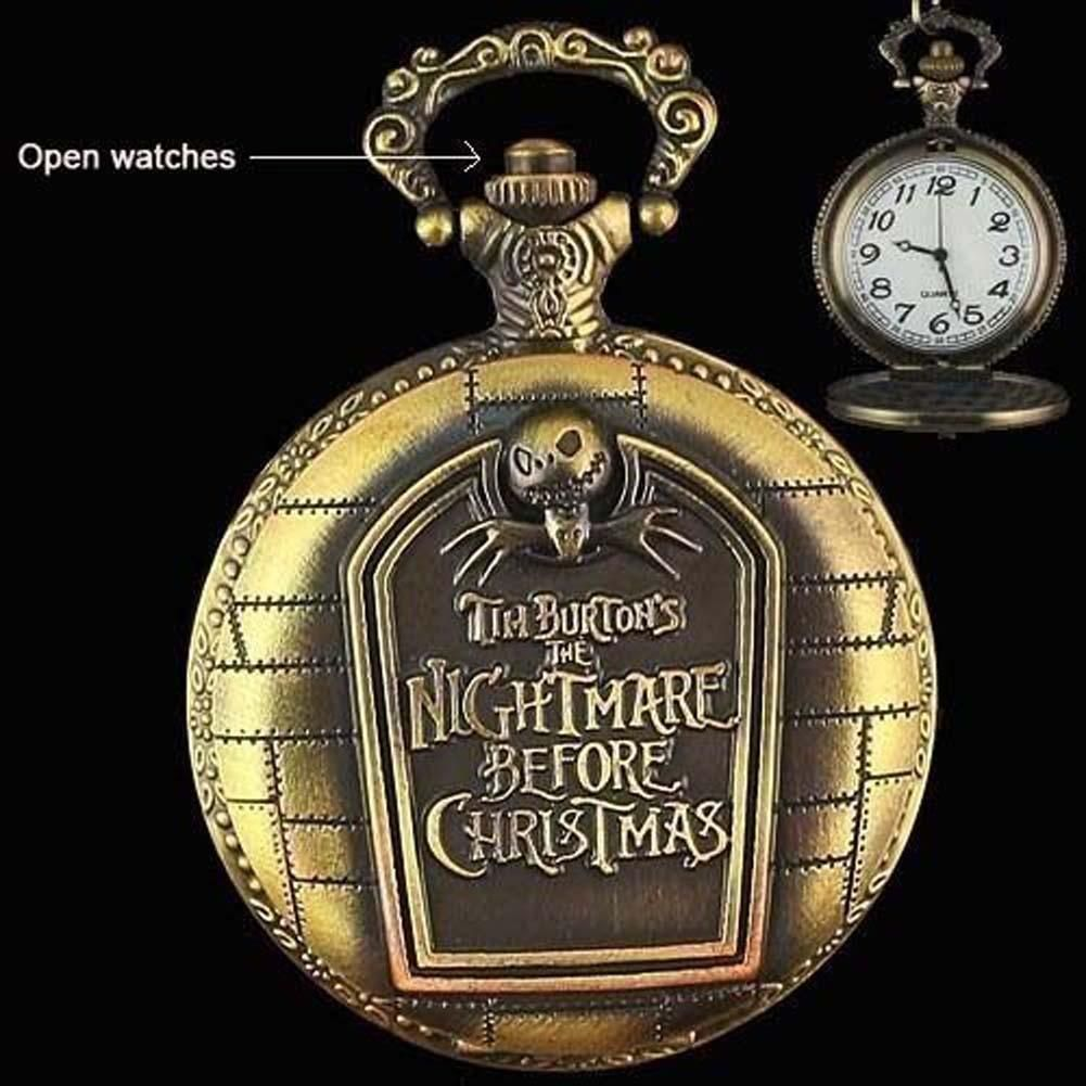 Nightmare Before Christmas Quartz Necklace Pendant Pocket Watch ...