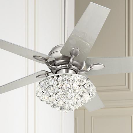52 Casa Optima Brushed Steel Crystal Ceiling Fan Chandelier