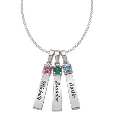Zales Mother S Synthetic Birthstone Bar Pendant In