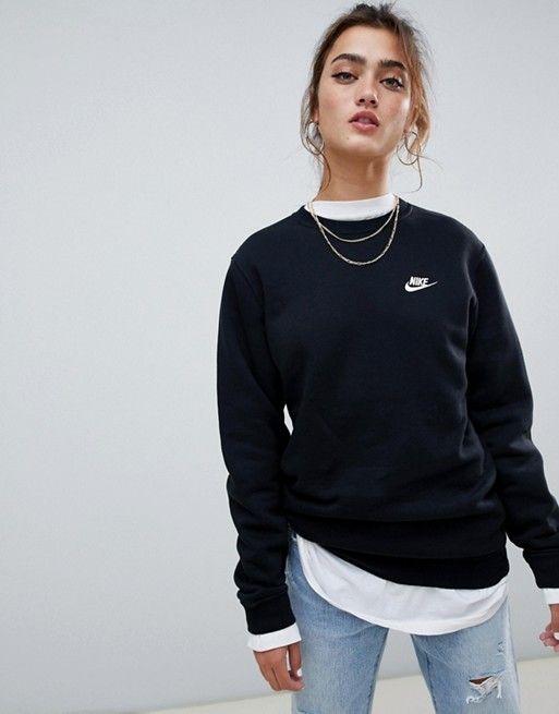 Nike black club crew neck sweatshirt in 2019 | Sweatshirts