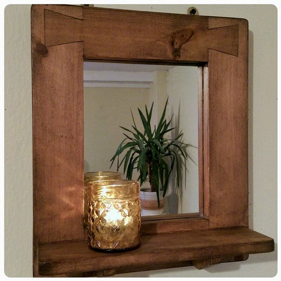 Wooden Wall Mirror With Shelf Natural Wood Thick Chunky Wide Dark Wood Frame Candle Shelf Modern Rustic Custom Handmade In Somerset Uk Rustic Wall Mirrors Wall Mirror With Shelf