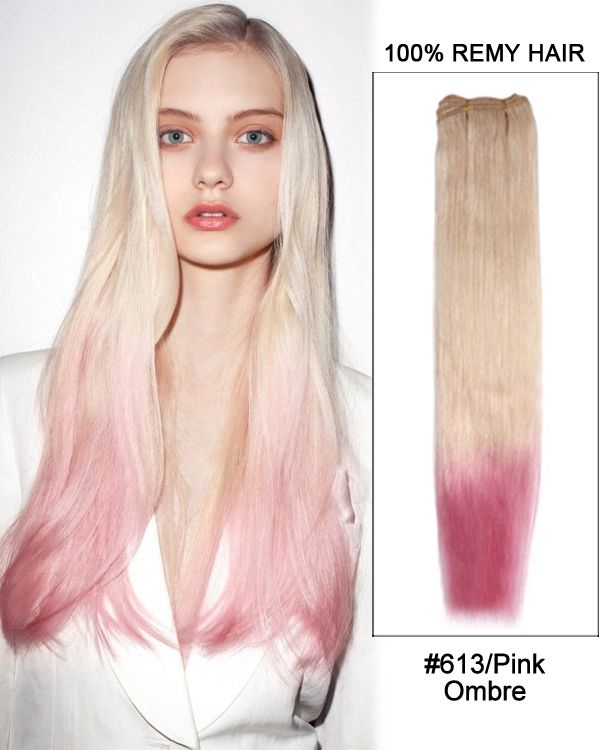 22 613pink Ombre Straight Weave Remy Hair Weft Hair Extensions