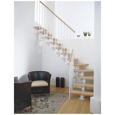 Escada 1 4 De Volta Long L Branco Faia 65cm Leroy Merlin Escalier Modulaire Decoration Escalier Escalier