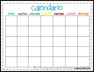 Calendar Month Spanish   Espanol     Spanish