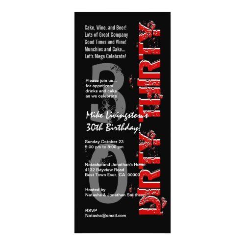 DIRTY THIRTY Birthday Party Black White Red Tall Card Birthday - best of birthday invitation card write up