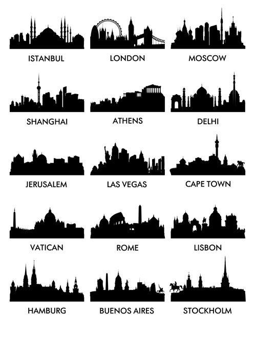 World Famous Cities Silhouettes Vector Set 04 Siluet Lukisan Lukisan Dinding