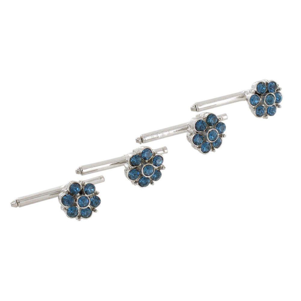 Vintage Mens Shirt Studs Stud Silver Tone Flower Sapphire Blue Rhinestone Set 4