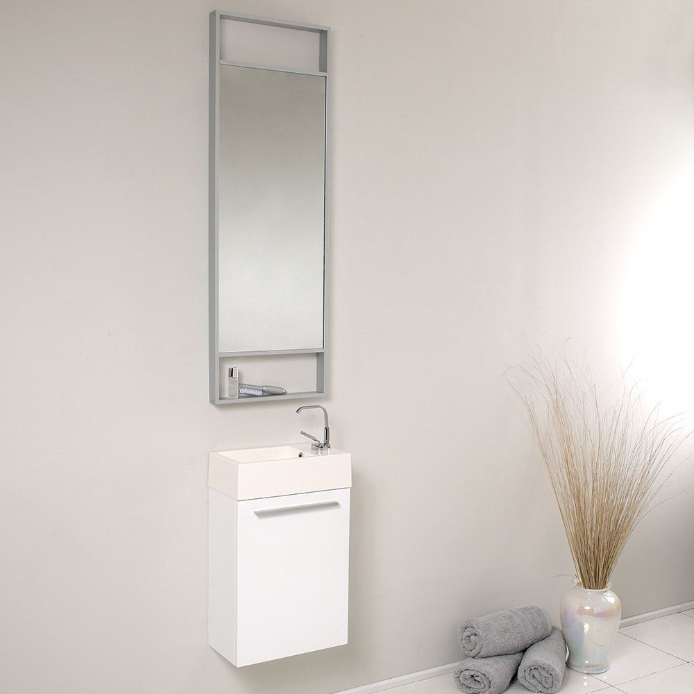Fresca Pulito Small White Modern Bathroom Vanity W Tall Mirror