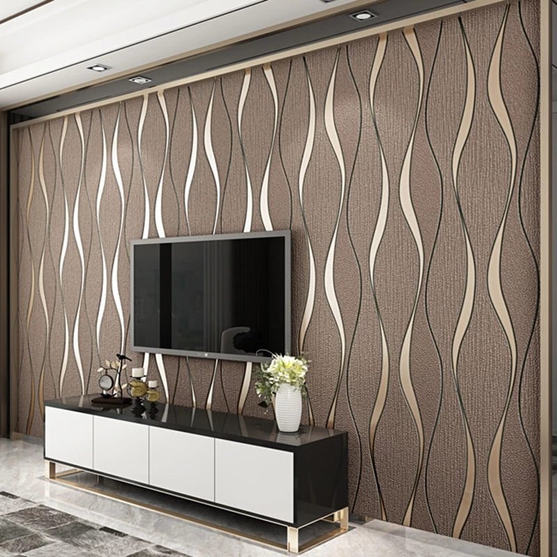 3d Striped Wallpaper For Walls Roll Living Room Tv Background Wall Dec House Insides Wallpaper Living Room Living Room Tv Wall 3d Striped Wallpaper
