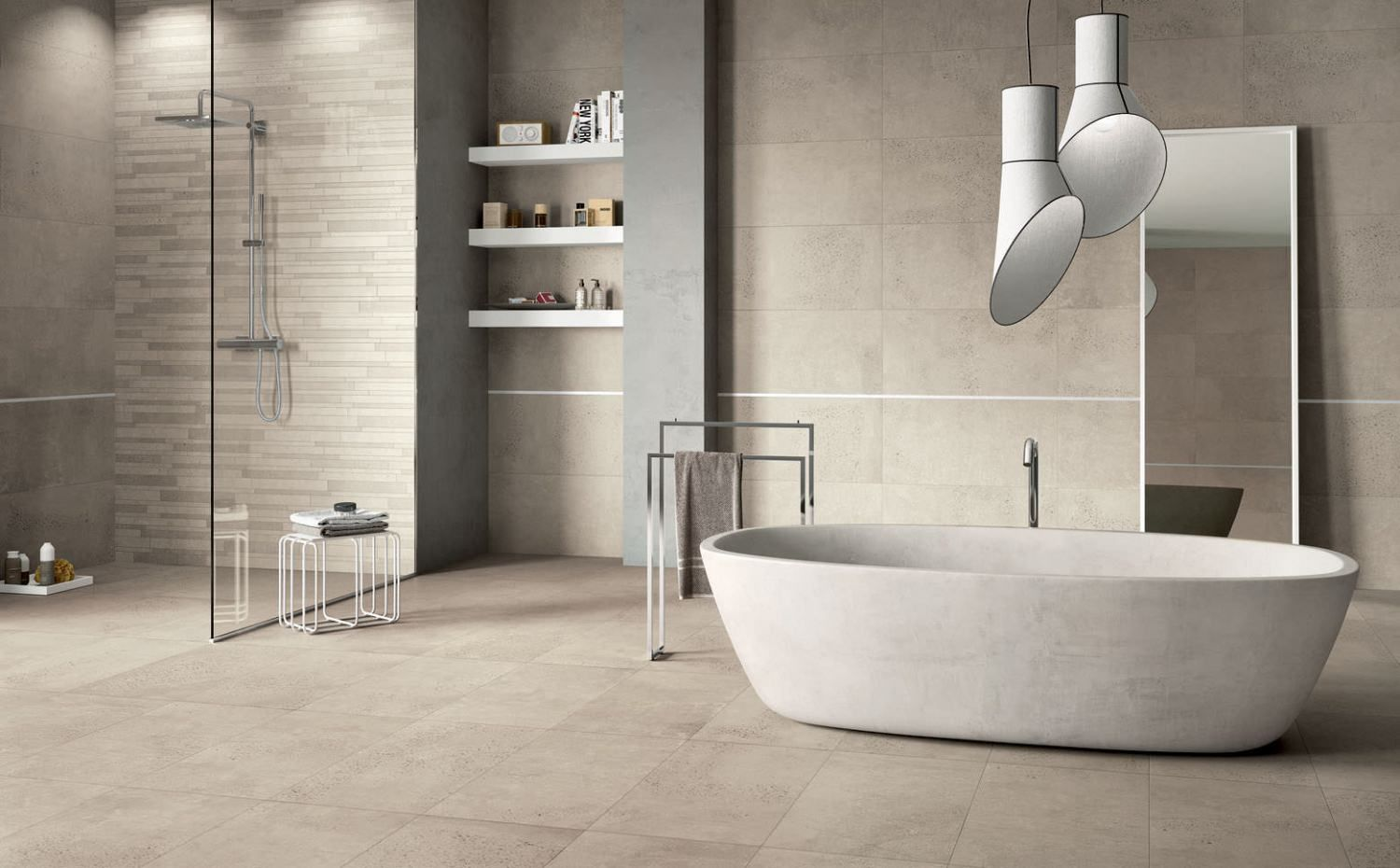 concrete look, italian porcelain, wall & floor tile df5 dt ecru