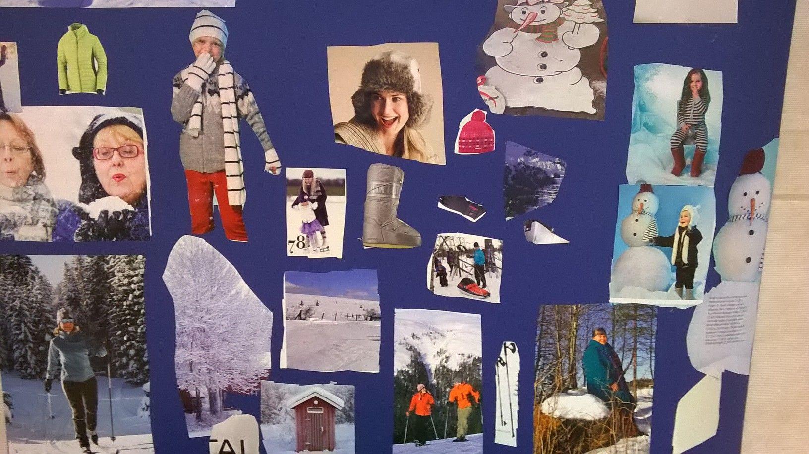 Lehdistä etsimme talvisia kuvia.