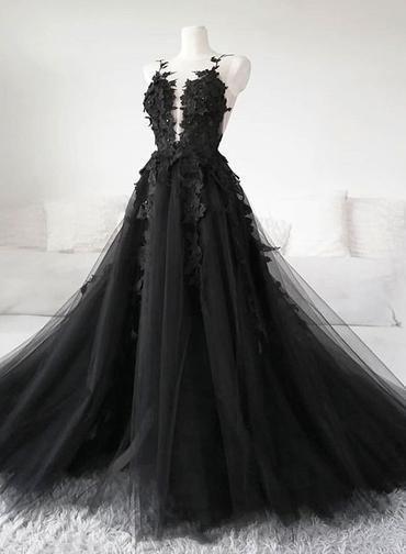 Unique Black Tulle V Neck Sheer Back Lace Applique Evening Dress, Formal Dress D-021