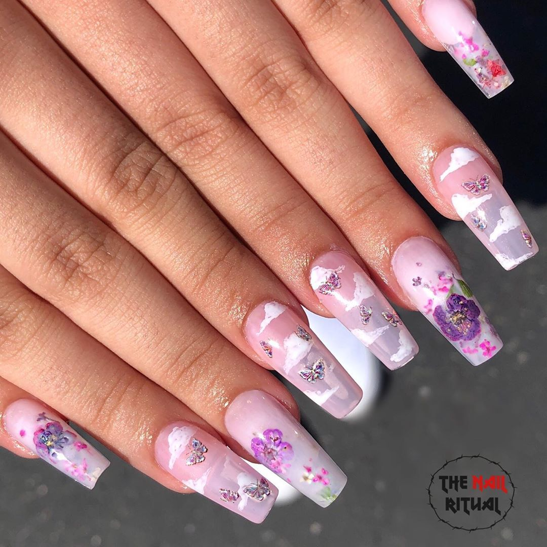 Thenailritual On Instagram Milk Bath And Butterflies Clouds Nails Inspired By My Girl Arizonai Pretty Acrylic Nails Butterfly Nail Art Gel Extensions