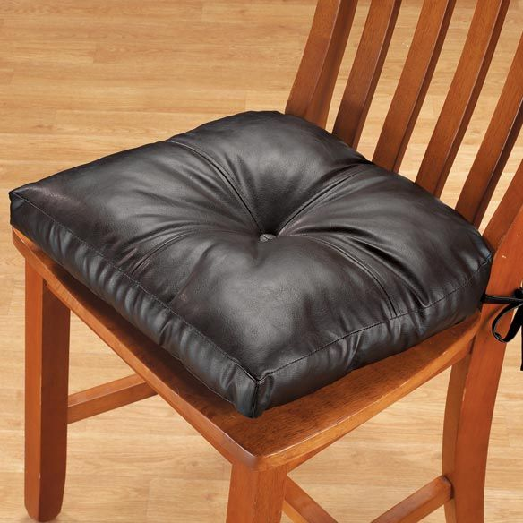 Faux Leather Chair Pad Dining Cushion Walter Drake