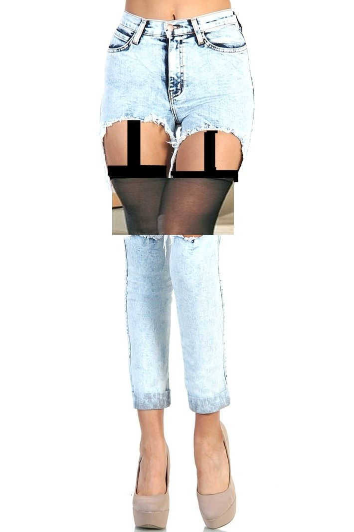 297c7e772d2 Ripped garter belt Jeans This is why I want to go to design school. I love  this ripped jeans garter belt design to the point I edit one myself.