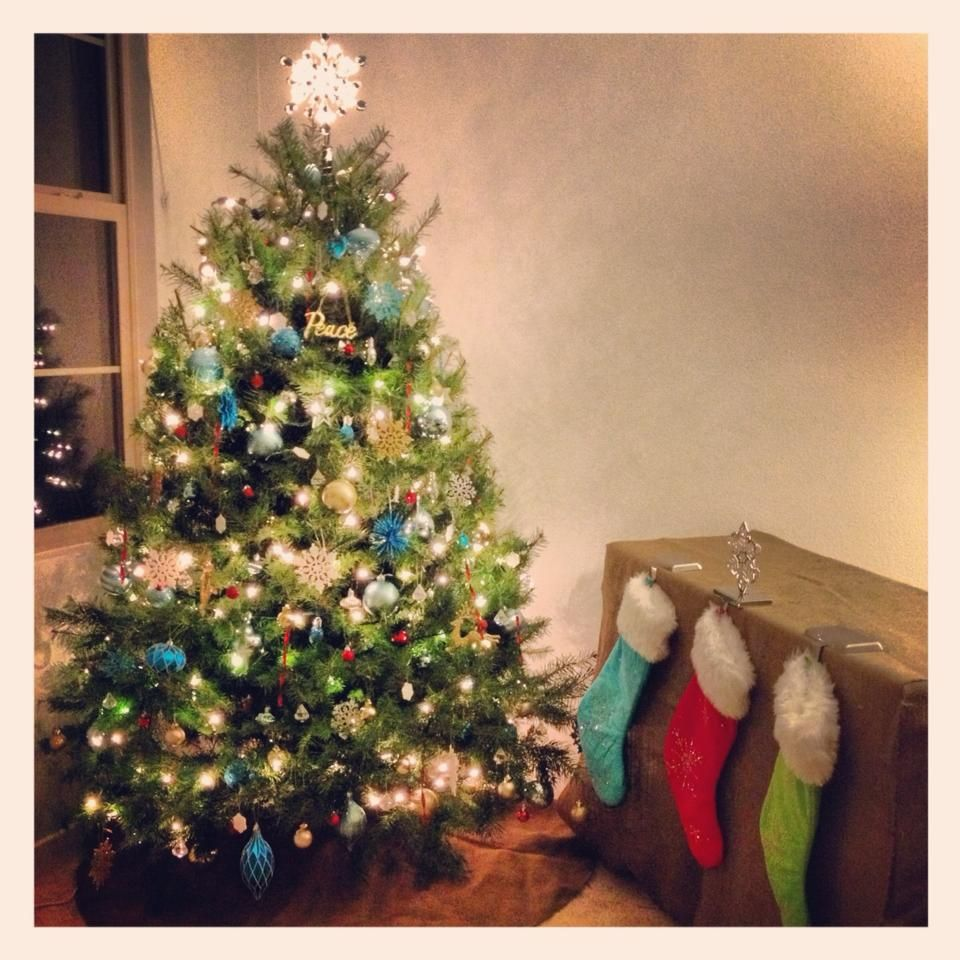 Our Blue Green Red Silver And Gold Christmas Tree Green Christmas Red Christmas Tree Christmas Decorations