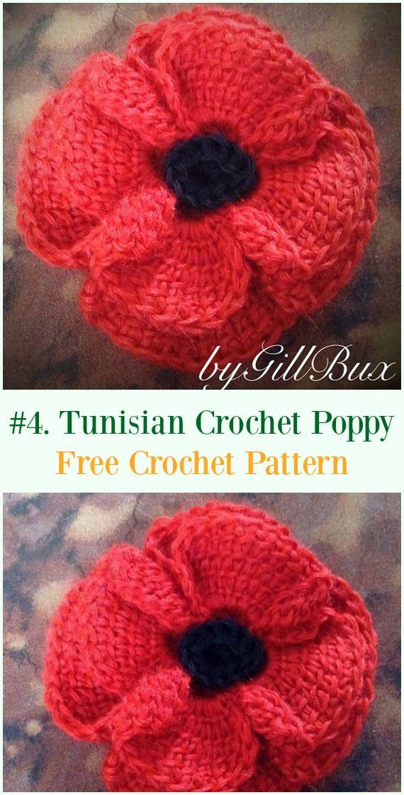 Tunisian Crocheted Poppy Flower Free Pattern - #Crochet #Poppy ...