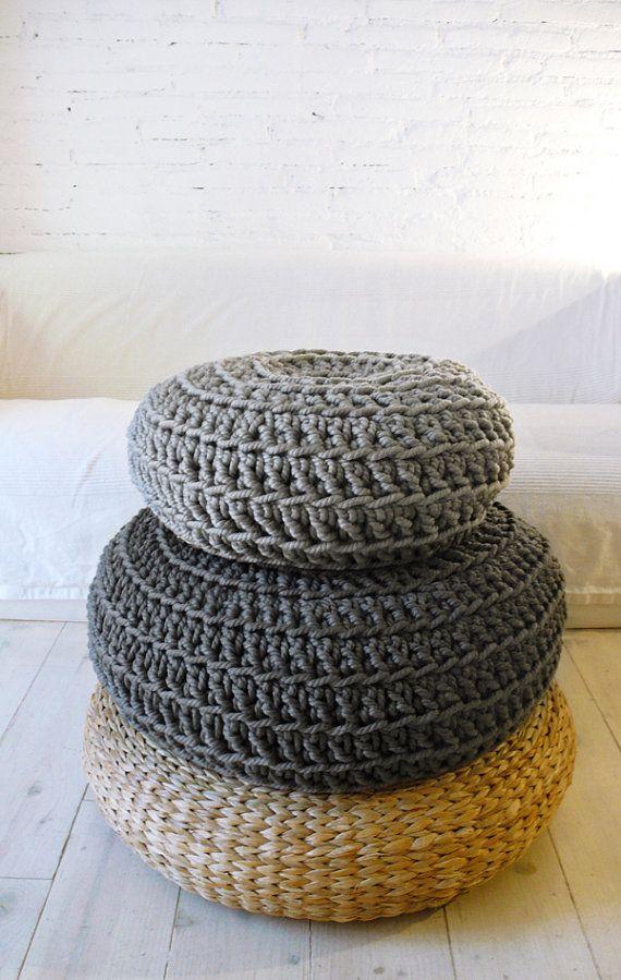 Floor Cushion Crochet  Medium Grey por lacasadecoto en Etsy, €59.00